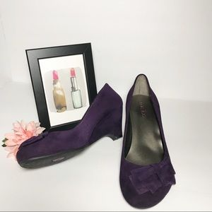 """Me Too """"Life"""" Purple Suede Pumps W/Bow"""
